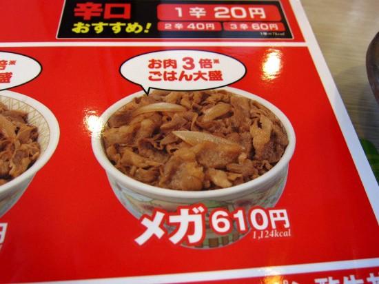 熊谷市大字拾六間「すき家 熊谷籠原店」のメガ牛丼