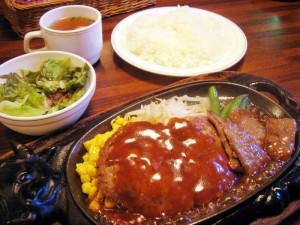 熊谷市美土里町「くいしんぼ」のハンバーグ&スライスステーキ