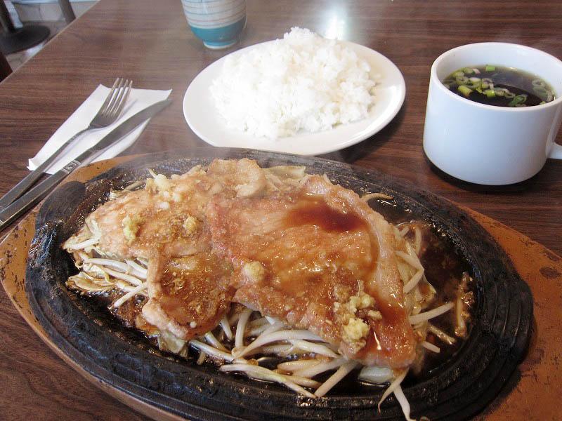 本庄市見福5丁目「グリル大臣」の豚生姜焼定食