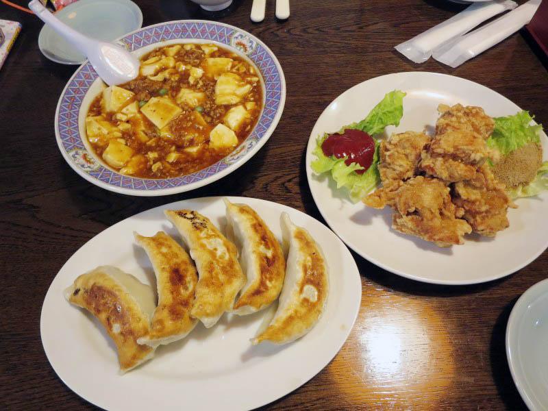 比企郡吉見町中新井「味のきんせい」の本格四川風麻婆豆腐と若鶏の唐揚げときんせい餃子