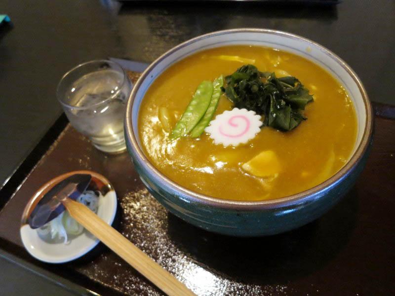 深谷市折之口「九重」のカレー南ばんうどん(特盛り)と天ぷらそば