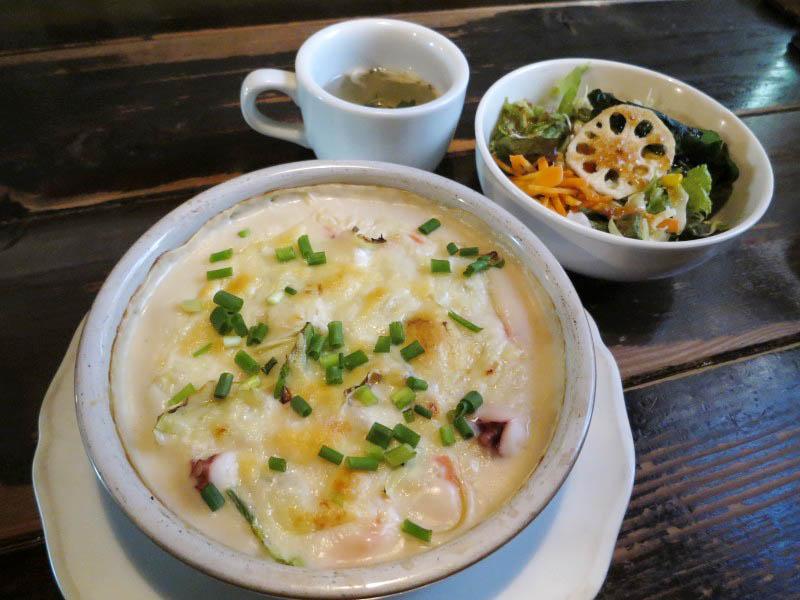 熊谷市大麻生「夢街道」のグラタン風クリーム明太子のチーズ焼きスパ